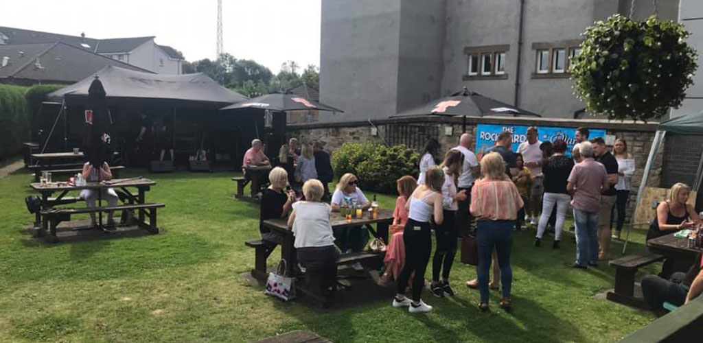 An outdoor event at Cellar Bar