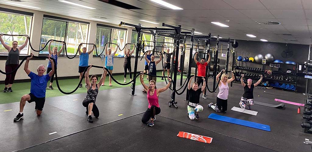 A workout class at Club Coops