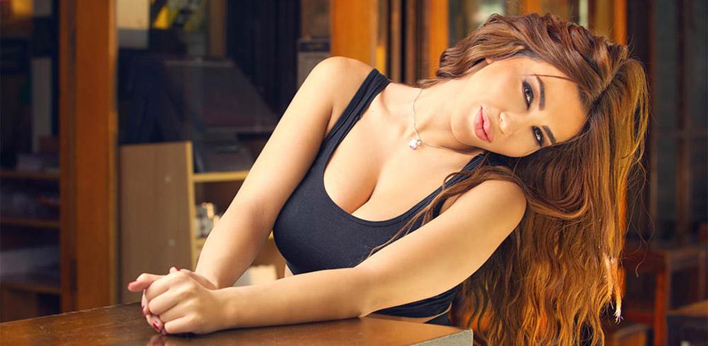 A flirtatious woman at a bar