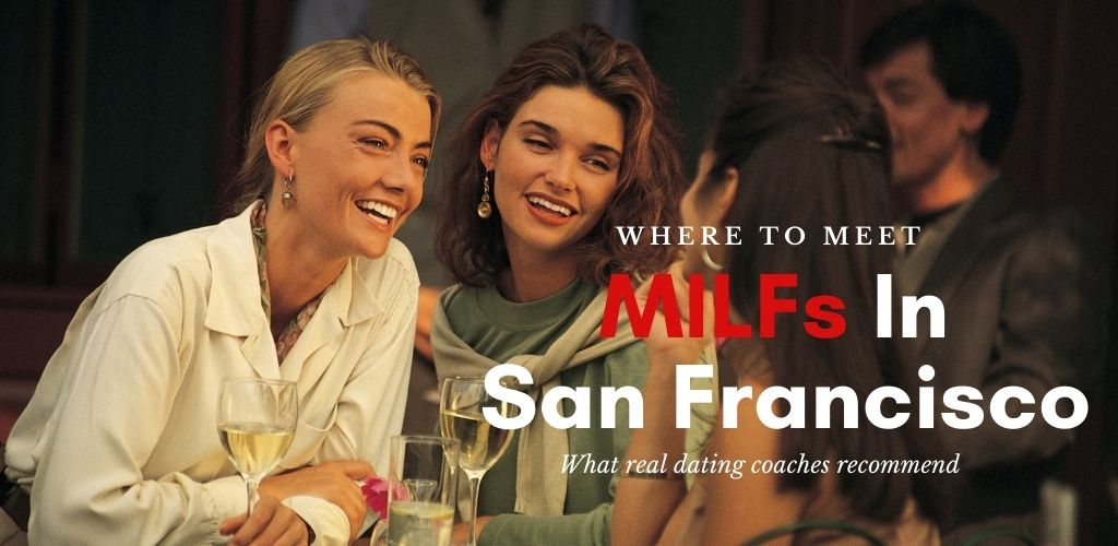 San Francisco MILFs chatting over drinks at a bar