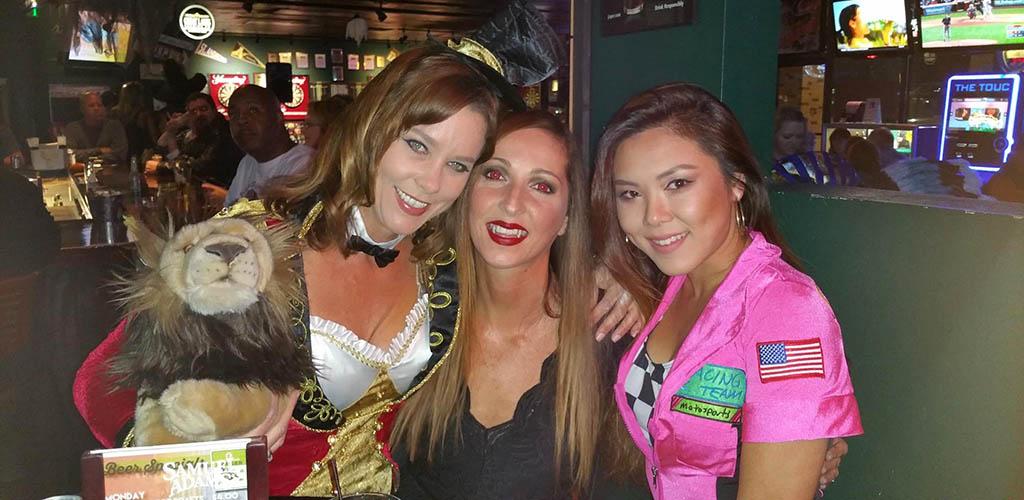 Beautiful ladies in Halloween costume at Mac's Tavern