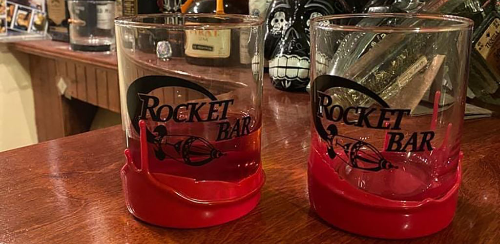 The cool glasses from Rocket Bar