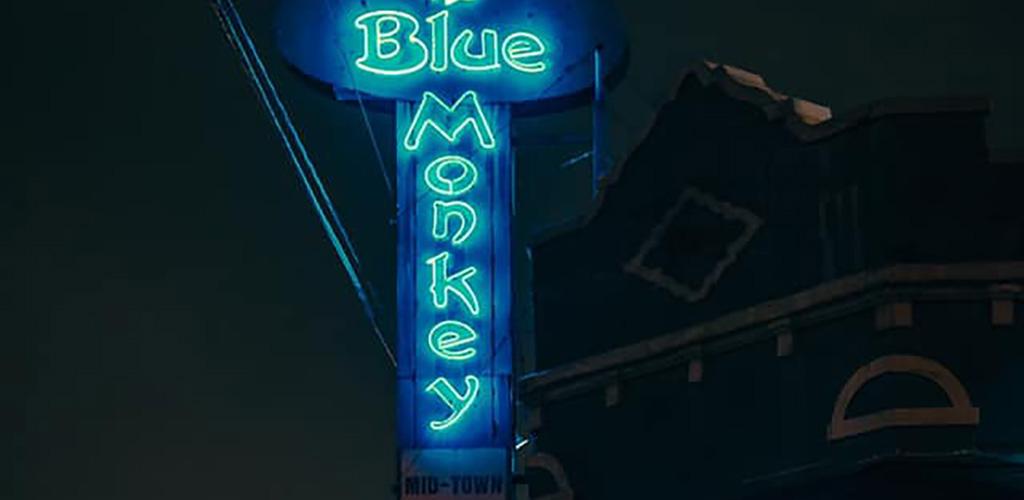 Blue Monkey Bar neon sign