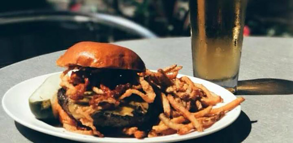 A burger and fries from Blue Hill Tavern