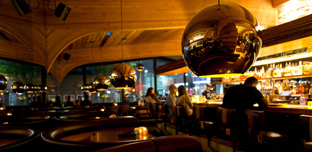 The rustic Doug Fir Lounge