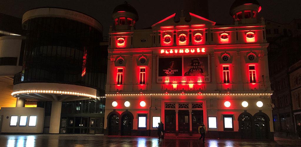 The exterior of Everyman Playhouse at night