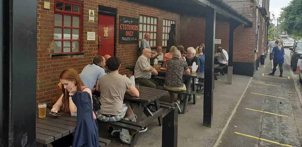 The patio of Fat Cat Pub