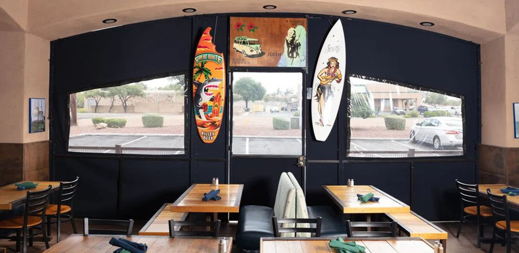 The beachy decor at Fini's Landing