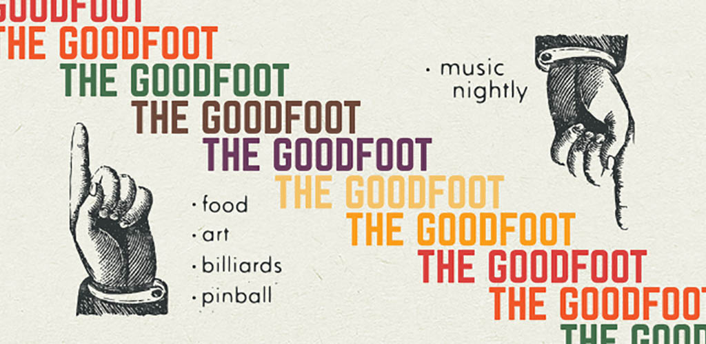 The 60s inspired sign of Goodfoot