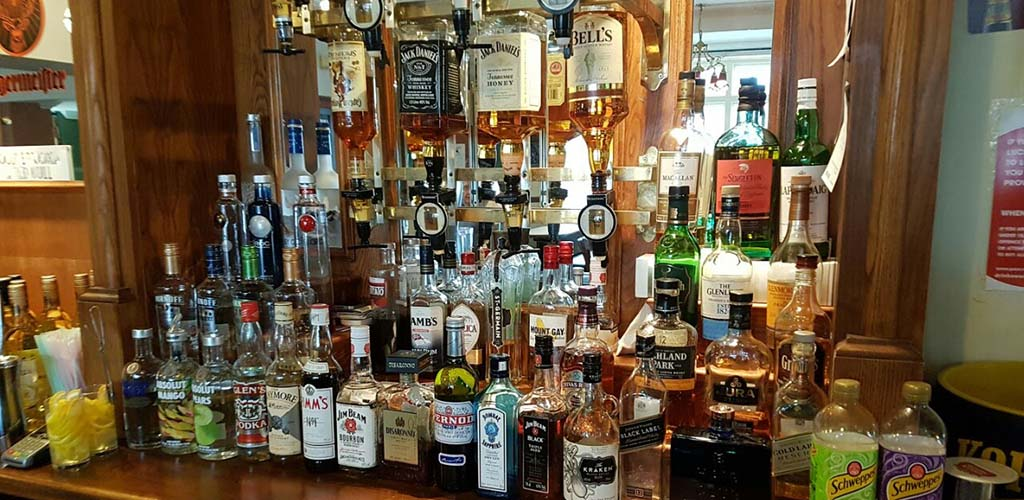 The liquor shelf at The Great Western Pub