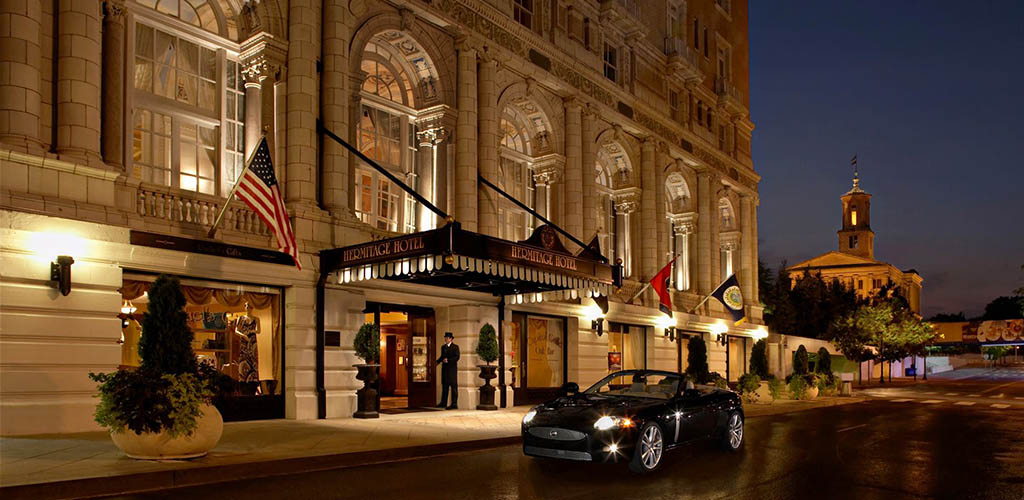 The classy exterior of The Hermitage Hotel