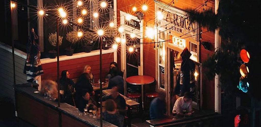 The patio at night at the Karma Brew