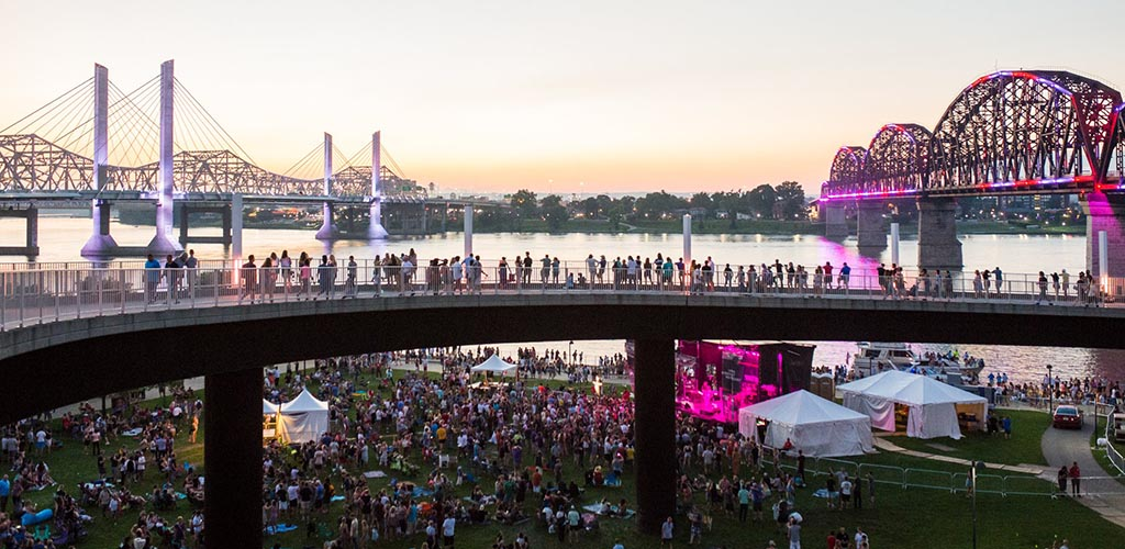 Louisville Waterfront Park full of people