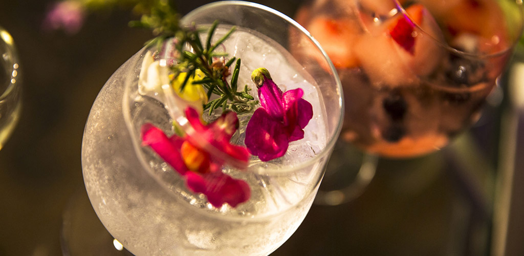 A floral cocktail from Alluvial Restaurant