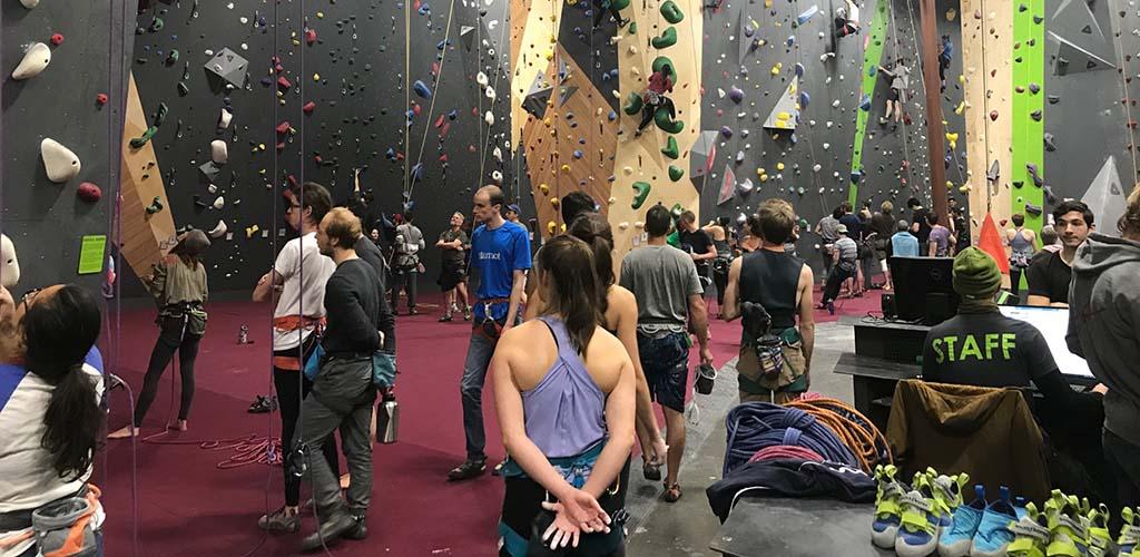 Plenty of people waiting to climb at Rocks and Ropes