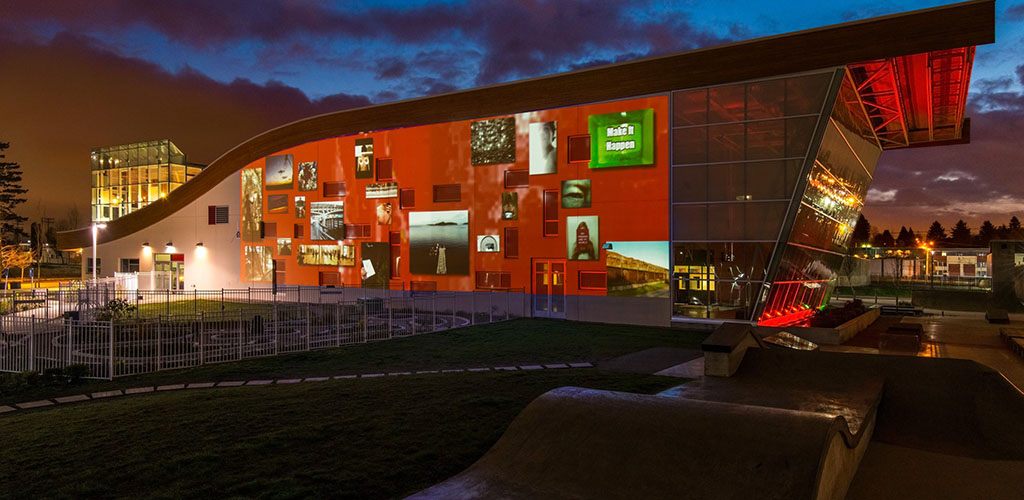 Exterior of the Surrey Art Gallery at night