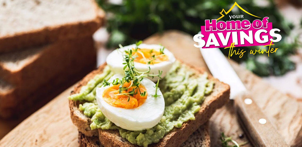 Avocado on toast made with ingredients from Cambridge Foods