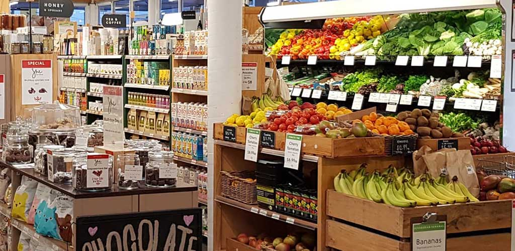 The produce area of Commonsense Organics