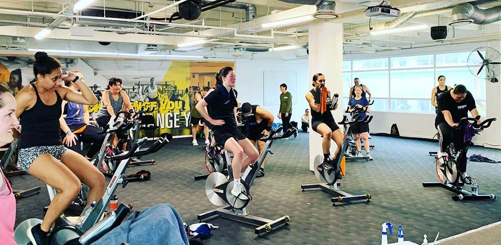 A cycling class at Exodus Gym