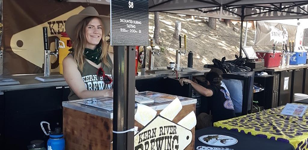 A lovely lady serving beers at The Kern River Brewing Company