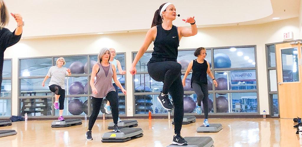 An aerobics class at Reh-Fit