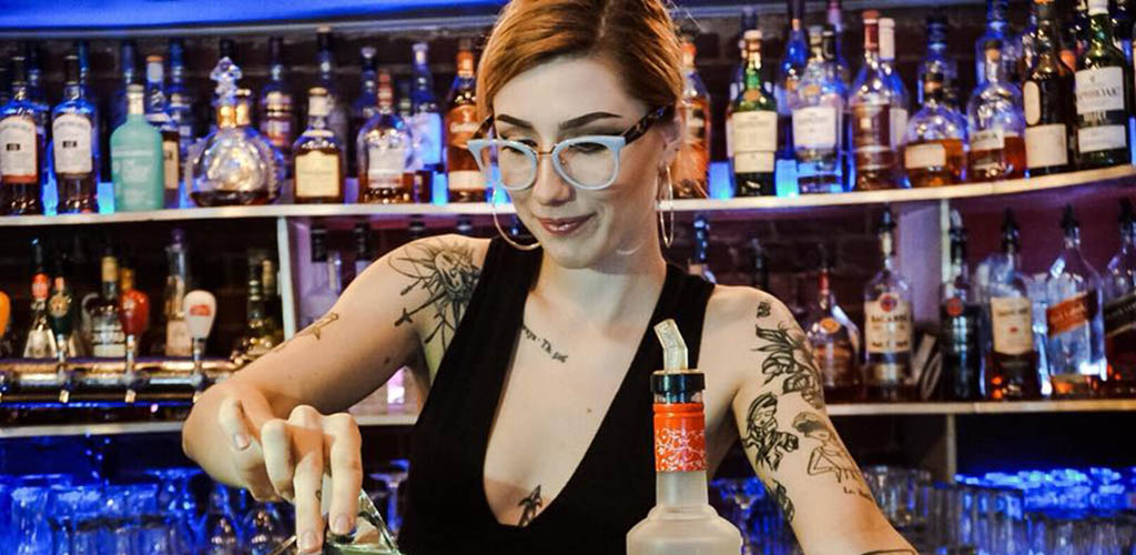 The beautiful bartender at Stogies Cigar Lounge