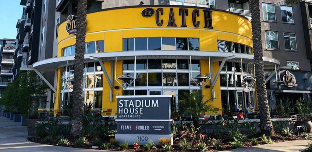 The bright facade of The Catch