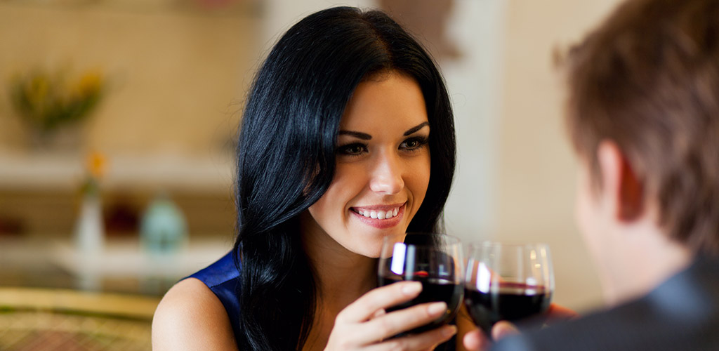A woman on a wine date