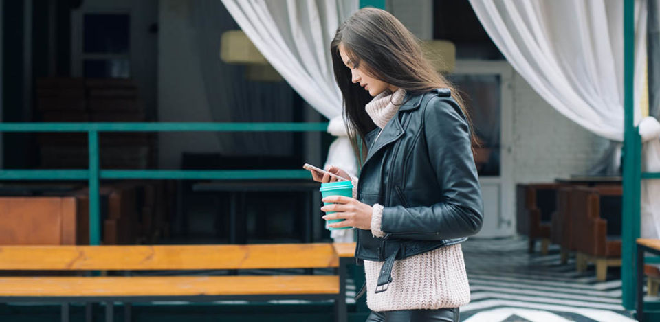 Woman texting before the first date