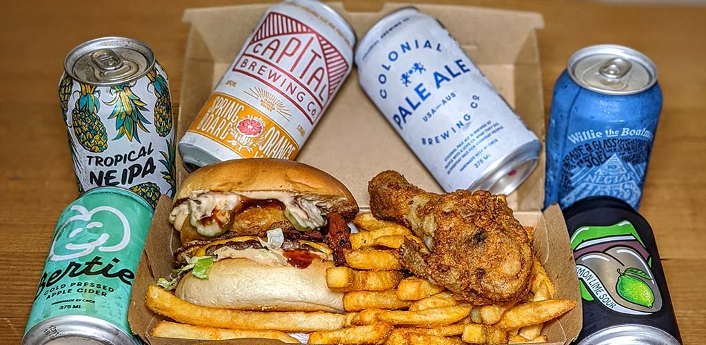 Burgers, chicken, fries and beers from