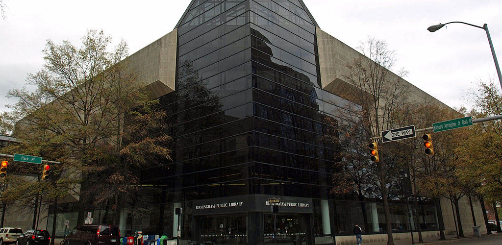 The imposing exterior of the Birmingham Public Library