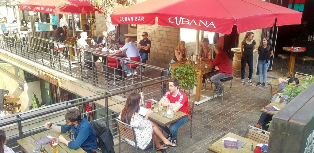 The outdoor area of Cubana Tapas Bar where you can find cougars in Sheffield
