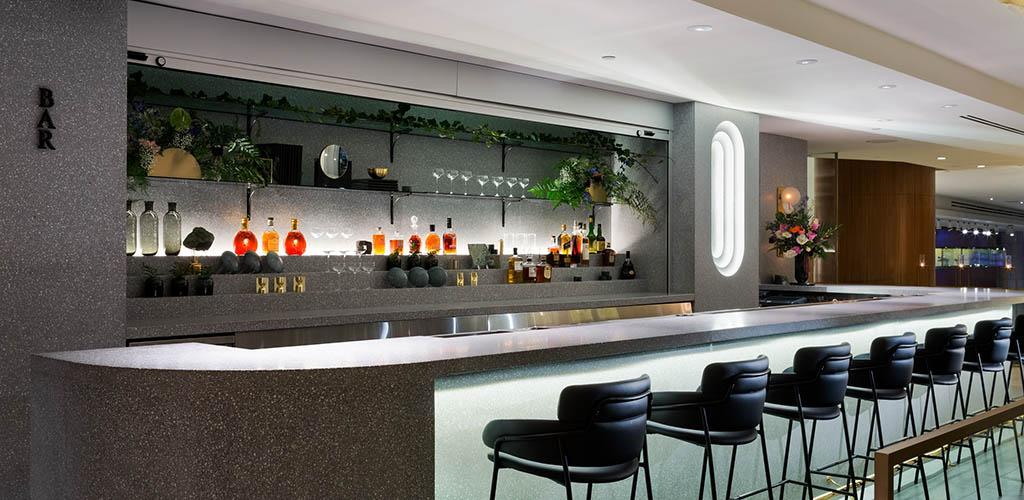 The elegant modern bar of The Lobby Lounge Raw Bar