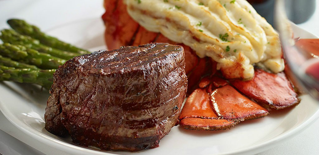 A steak and lobster tail from Hy's Steakhouse
