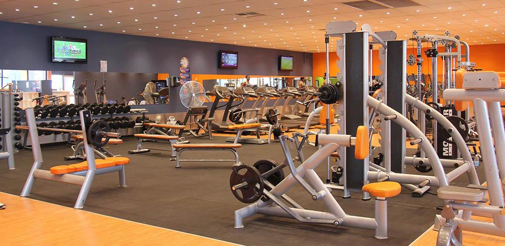 The very orange interior of Plus Fitness