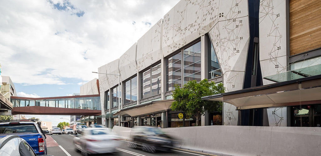 The modern exterior of Wollongong Central