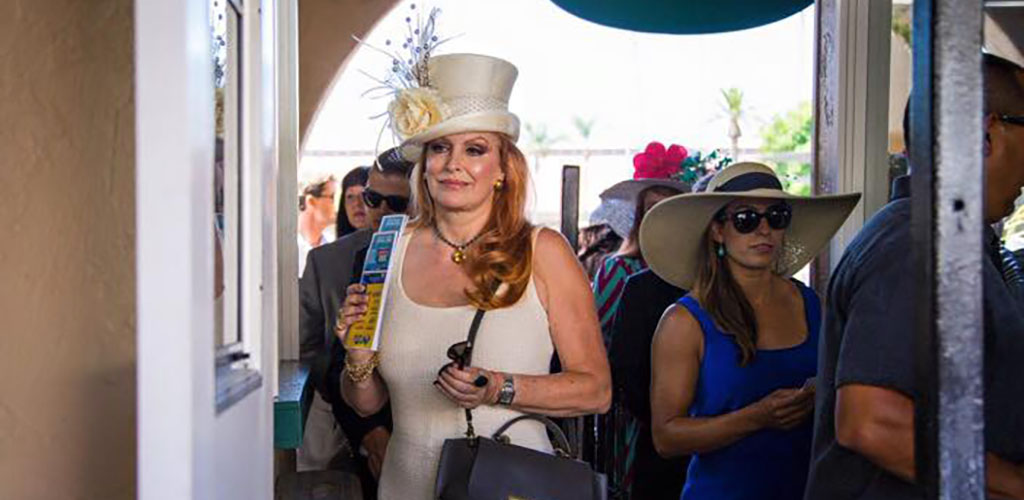 Elegant older women placing their bets at the Del Mar Race Track