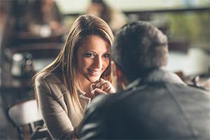 woman making eye contact