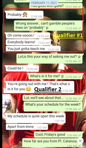 Qualifying is one of the best signs a girl likes you over text