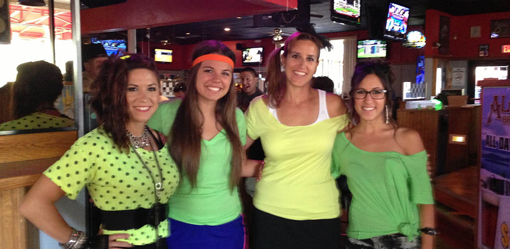 Ladies dressed up for the 80s theme at CK's Tavern
