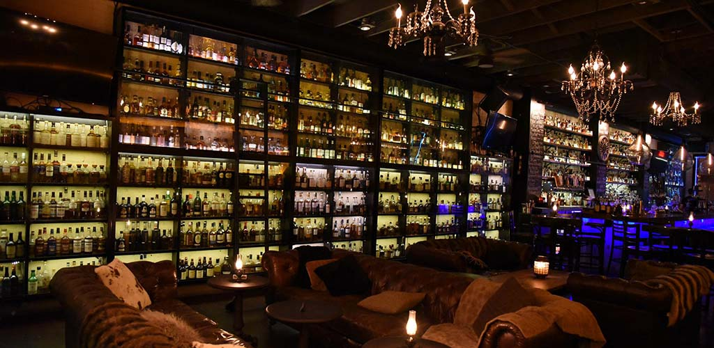 The bar at The Whiskey House stocks every liquor you can think of