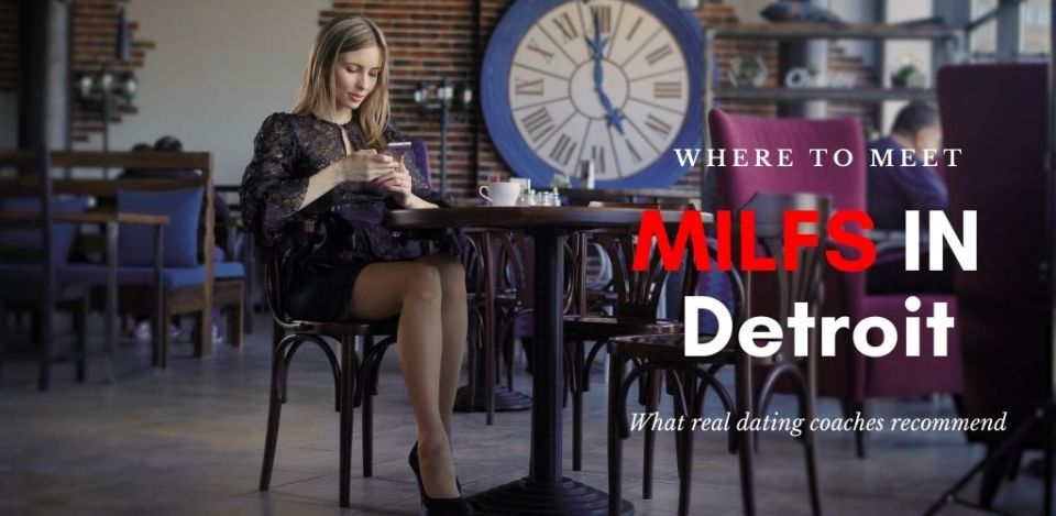 Single Detroit MILF sitting at a table texting