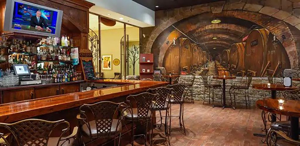 The optical illusion mural at Meritage Restaurant and Wine Bar