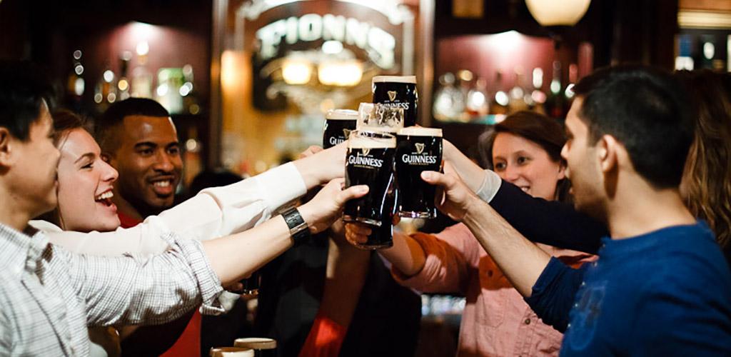 Friends having drinks at Fionn MacCool's