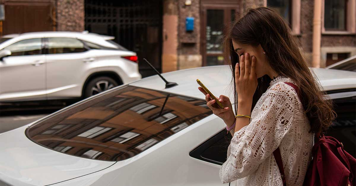 Girl reacting badly to a text