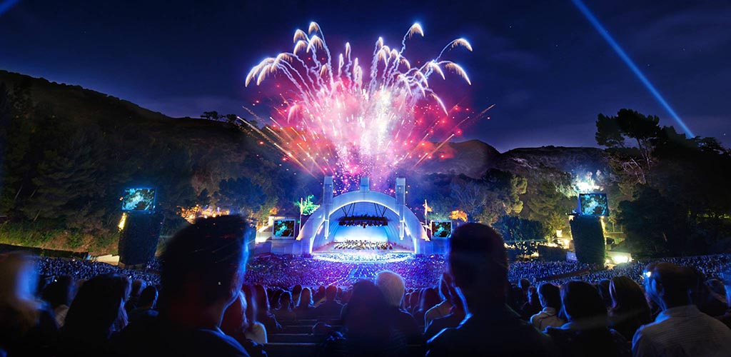 Fireworks during a live performance at Hollywood Bowl