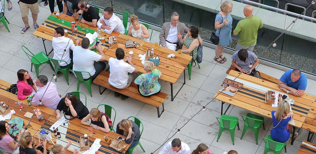 Aerial view of Biergarten at the Rooftop of Hotel Monaco