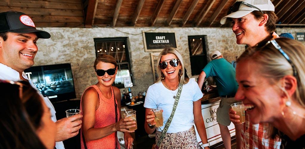 Friends having drinks at Keeneland