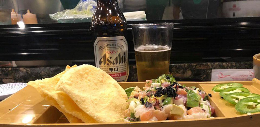 An appetizer and beer from Kona Jack's