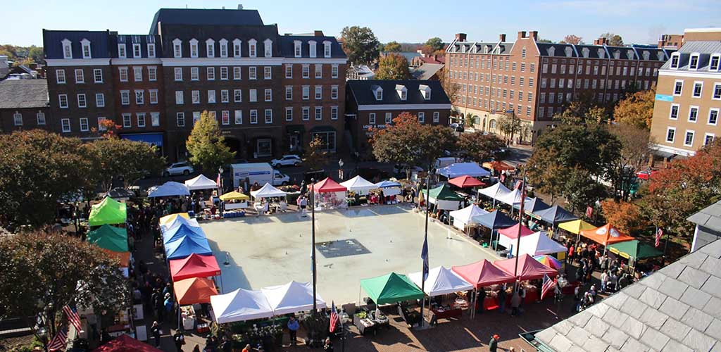 The colorful tents at the Old Town Farmers Market